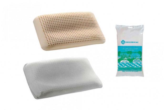 La forma del cuscino segue le linee naturali della testa. Il cuscino è in lattice, la fodera in tessuto.
