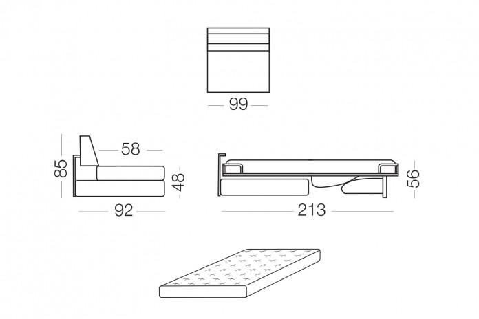 Duke - Elemento 1 posto con letto, dimensioni disponibili