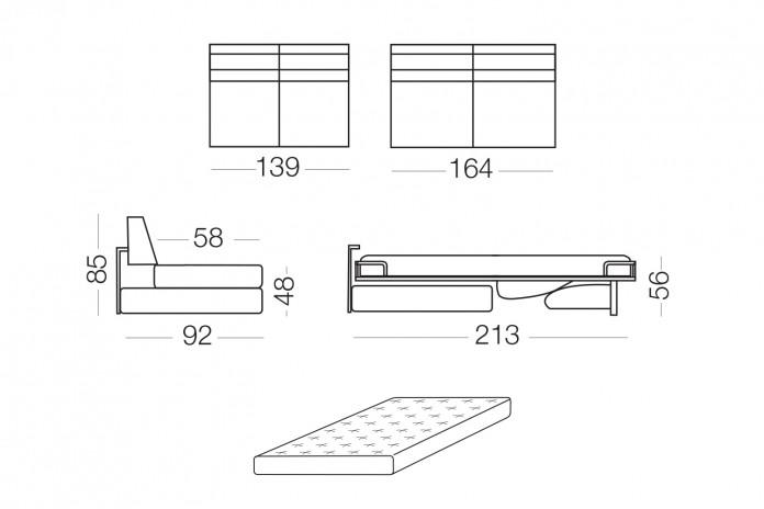 Duke - Elemento 2 posti con letto, dimensioni disponibili