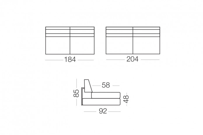 Duke - Elemento 3 posti fisso, dimensioni disponibili