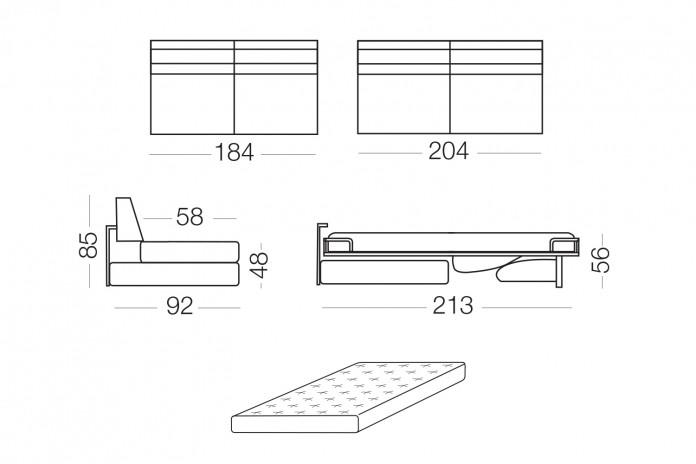 Duke - Elemento 3 posti con letto, dimensioni disponibili