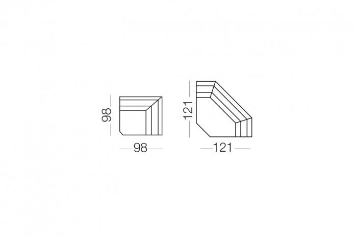 Duke - Elemento angolare, dimensioni disponibili