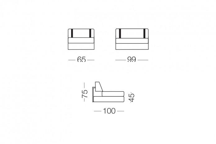Il divano può essere completato da un poggiatesta in tinta