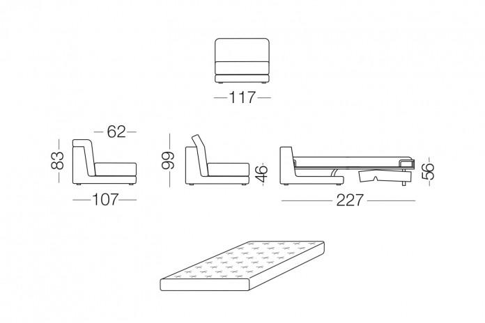 Joe è un divano letto angolare componibile con poggiatesta regolabili