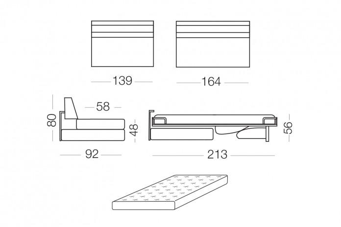 Matrix è un divano letto con materasso lungo 200 cm disponibile ad una piazza e mezza, francese, matrimoniale, king size.
