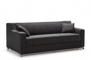 Larry è un divano letto moderno a 2 o 3 posti con piedini in metallo, dotato di materasso alto e comodo h.18