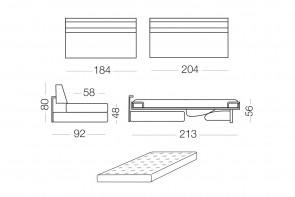 Matrix - divano 3 posti con letto, dimensioni