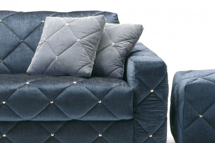 Douglas square velvet cushions with tufted cover.