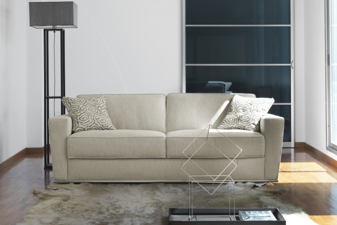 Shorter sofa bed with goose down padding.