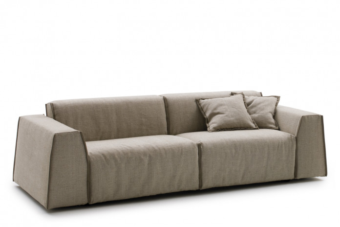 Parker sofa bed with low backrest and contrasting edging.