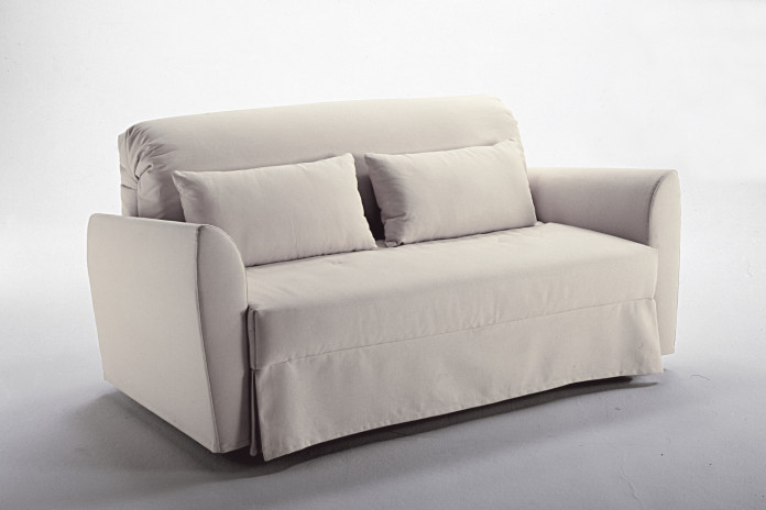 "Spencer folding sofa bed with skirted cover: model with ""50s"" armrests and dots quilting (on demand)."