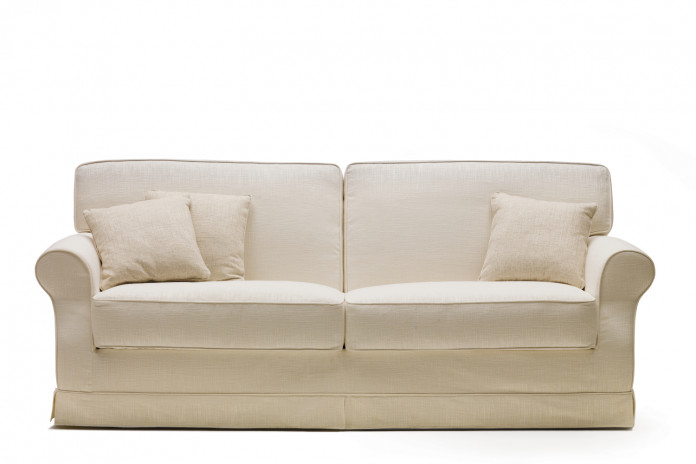 Gordon sofa bed with flounce cover.