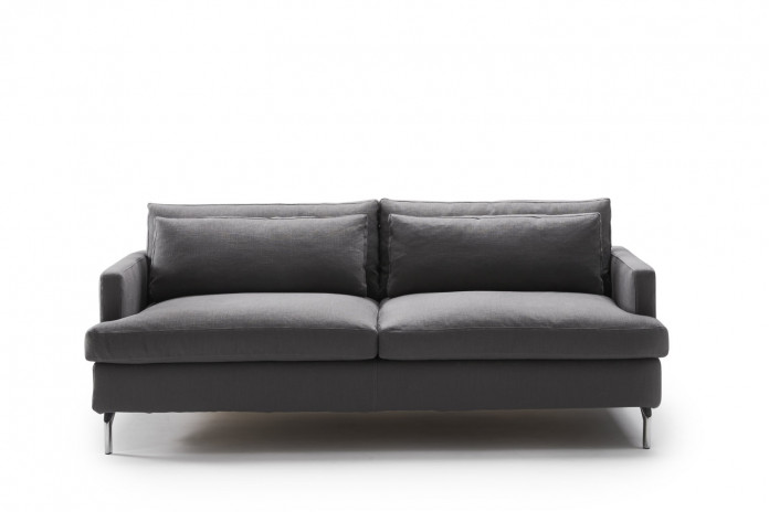 Dave double sofa bed with chaise longue, high feet and cushions in feather-foam mix