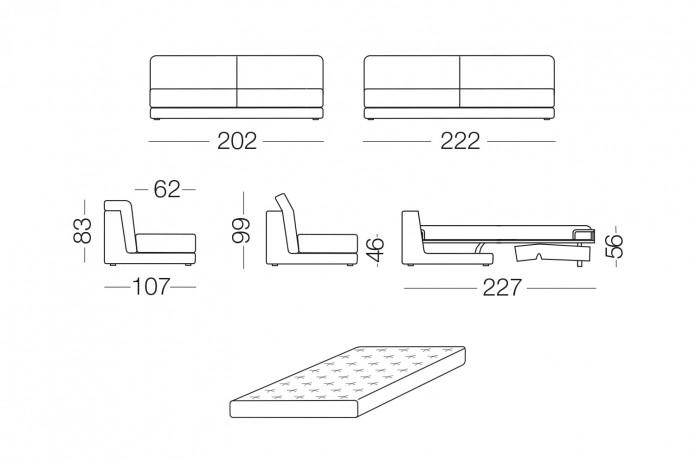 Joe corner sofa bed with adjustable backrest.