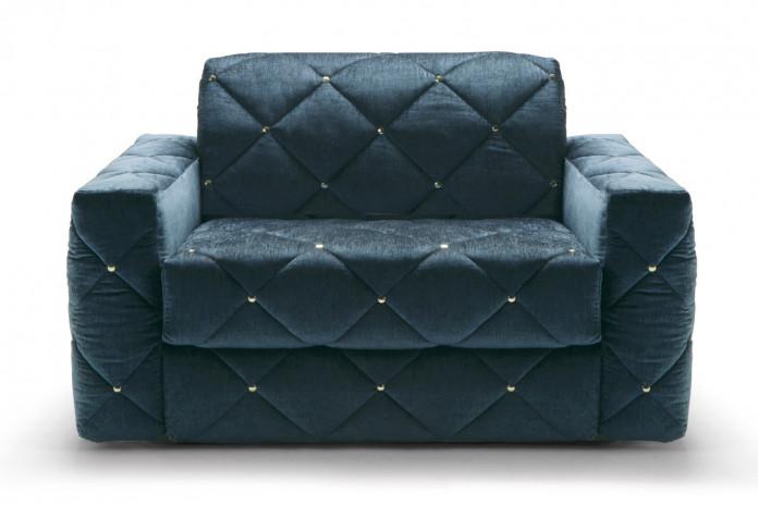 Douglas quilted velvet armchair