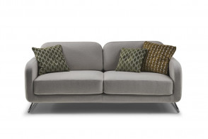 2 seater sofa with metal base and scatter cushions