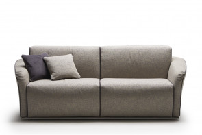 Groove fabric 3-seat couch with chromed metal tube base