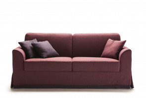 Ellis sofa with modern curved armrests.