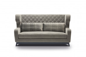 Morgan bergére sofa with high backrest.