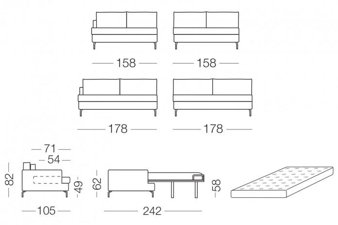 Schlafsofa mit Chaiselongue, hohe Aluminiumfüße, Polsterung aus Daunen und aus Polyurethan