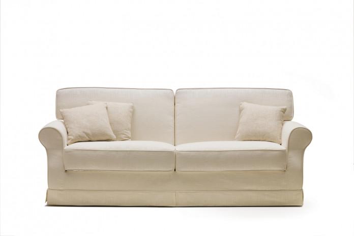 Klassisches Sofa mit abgerundeten Armlehnen mit Form einer Rolle