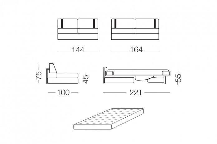 Das Schlafsofa kann durch ein Lendenkissen, Zierkissen und Sitzhocker ergänzt werden