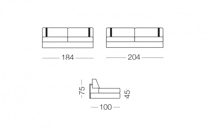 Das Sofa kann durch anpassende Kopfstützen ergänzt werden