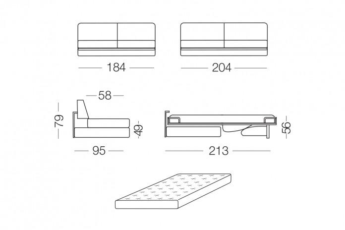 Shorter modulares modernes Schlafsofa mit Chaiselongue mit Stauraum