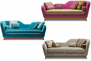 Jeremie modernes 3-Sitzer Designer Dormeuse Sofa aus Stoff und Samt
