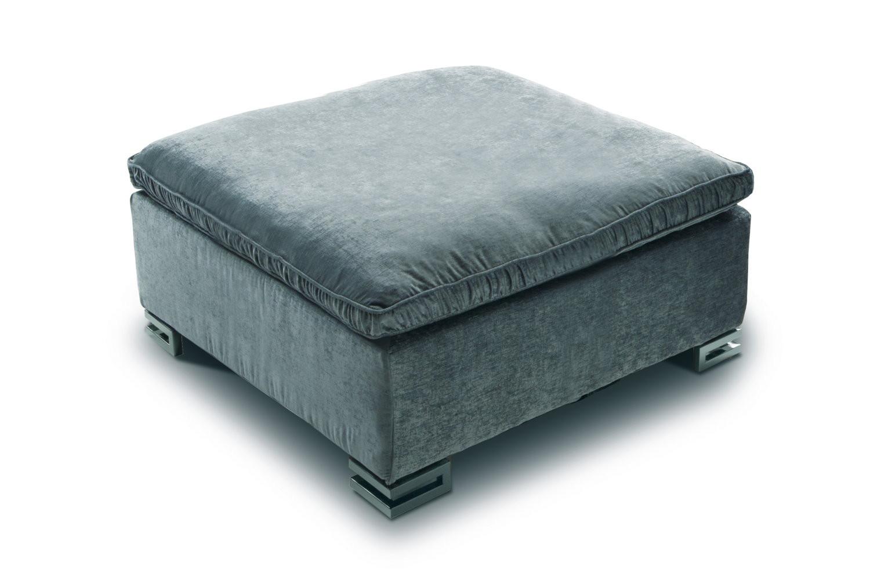 pouf sur pied en tissu effet velours garrison. Black Bedroom Furniture Sets. Home Design Ideas