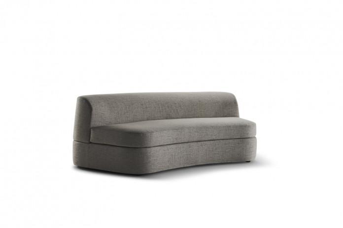 Canapé arrondi sans accoudoirs, dossier et assise monobloc