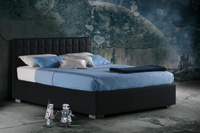 Lit avec tête de lit en cuir noir Barth par Milano Bedding