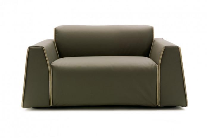 Parker, fauteuil de salon design XXL en cuir, tissu ou simili cuir