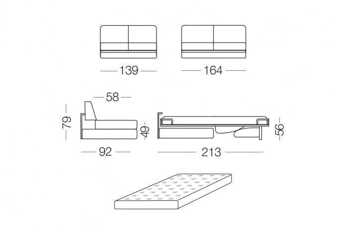 Canapé convertible avec matelas 14 cm Prince