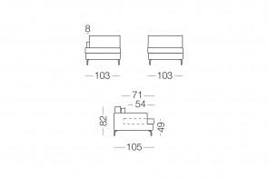 Dave - module 1 place pour canapé, dimensions