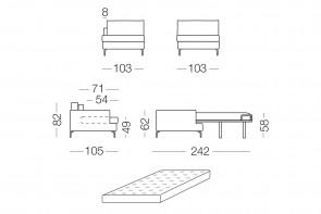 Dave - module 1 place convertible pour canapé, dimensions