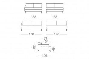Dave - module 2 places pour canapé, dimensions