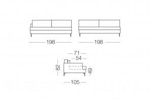 Dave - module 3 places pour canapé, dimensions