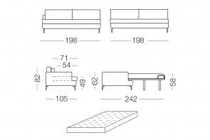 Dave - module 3 places convertible pour canapé, dimensions