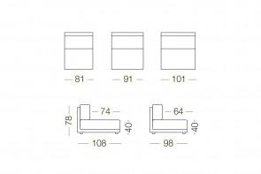 Dennis - module 1 place pour canapé, dimensions