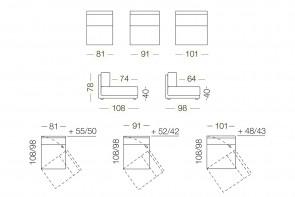 Dennis - module 1 place pivotant pour canapé, dimensions
