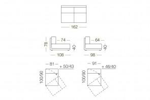 Dennis - module 2 places pivotant pour canapé, dimensions