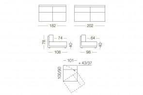 Dennis - module 3 places pivotant pour canapé, dimensions