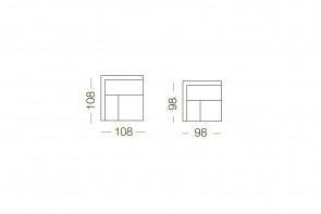 Dennis - élément d'angle, dimensions