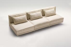 Canapé sans accoudoirs, assise en plume et PU