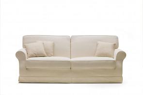 Canapé italien luxe en plume d'oie Gordon: accoudoirs en crosse, style campagne