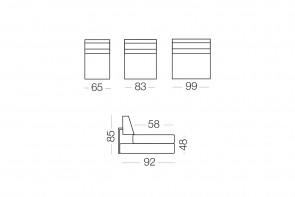 Duke - module 1 place pour canapé, dimensions