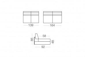 Duke - module 2 places pour canapé, dimensions