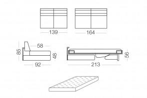 Duke - module 2 places convertible pour canapé, dimensions