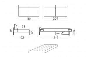 Duke - module 3 places convertible pour canapé, dimensions
